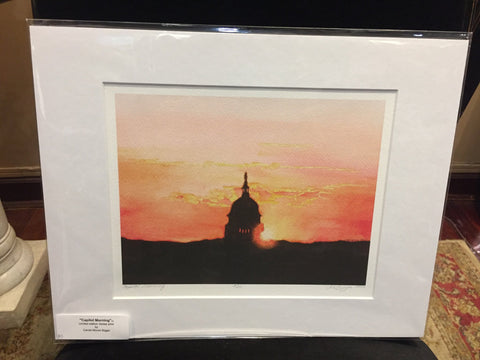 Capitol Morning | Signed and Numbered Giclee | Carole Moore Biggio | 7 by 9 Inches-Giclee Print-Sterling-and-Burke