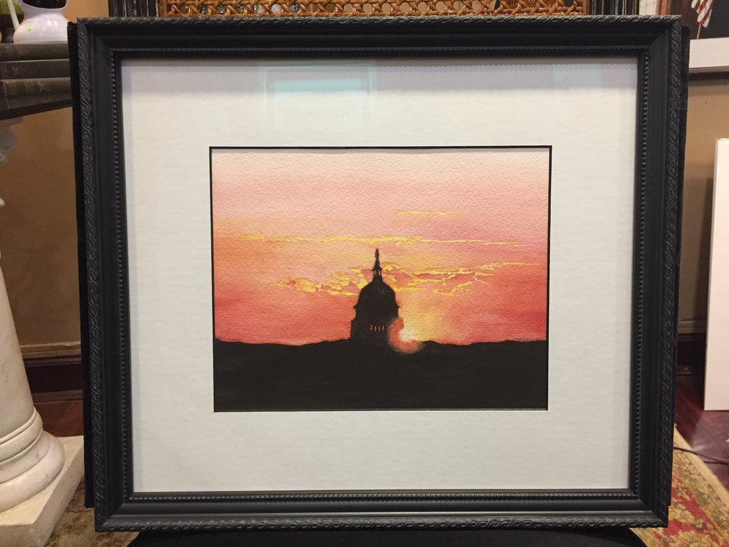 "Capitol Morning | Watercolor, Framed by Carole Moore Biggio | 14"" x 16""-Original Watercolor-Sterling-and-Burke"
