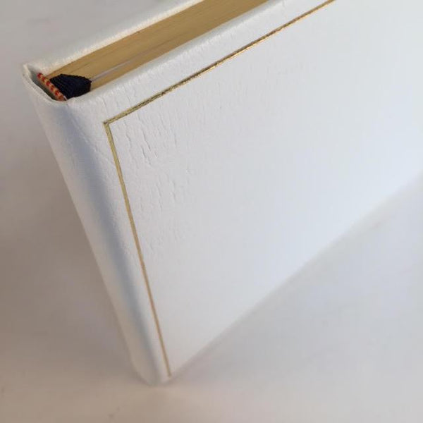 Wedding Guest Book | White Leather | 7 by 9 Inches | Thick | Blank Pages | Made in England | Charing Cross Ltd.-Guest Book-Sterling-and-Burke