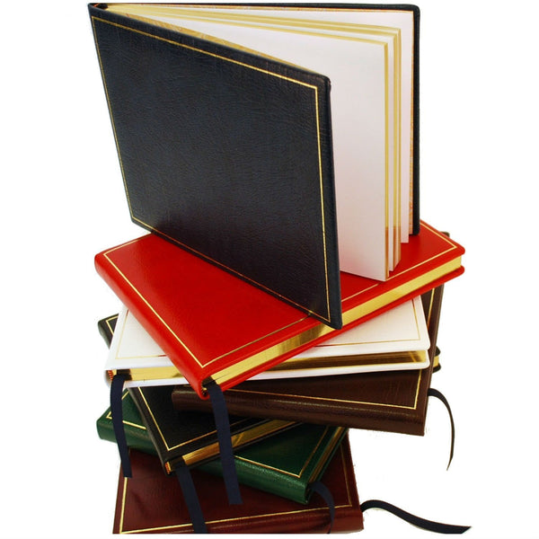 Guest Book | Calf Leather | Gold Tooling | 7 by 9 Inches | Blank Pages | Made in England | Charing Cross-Guest Book-Sterling-and-Burke