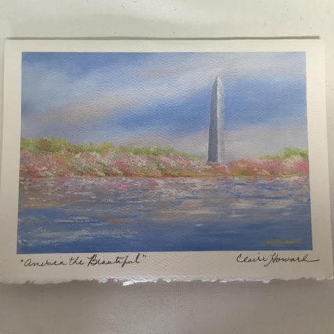 "Art | America the Beautiful | Stationery Note Card | Set of 3 | Hand Signed by Claire Howard | 5"" x 7""-Stationery-Sterling-and-Burke"