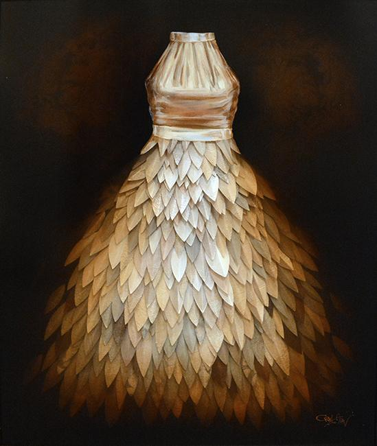 Craig Alan, Artist | Narrative Dress: Tranquil Trappings | Mixed Media | 40 by 50 Inches-Acrylic Painting-Sterling-and-Burke