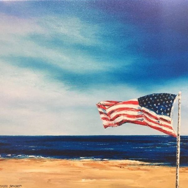 "Patriotic Beach Art | From Sea to Shining Sea | Giclee by Claire Howard | 24"" x 18"""