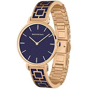 Halcyon Days Maya Enamel Bangle Strap Watch in Navy and Rose Gold-Jewelry-Sterling-and-Burke