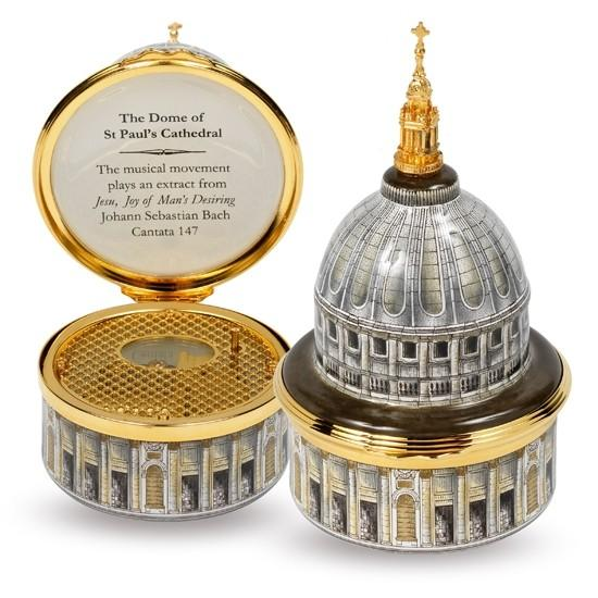 Halcyon Days Musical Enamel Box, 'St Paul's Cathedral'-Musical Enamel Box-Sterling-and-Burke