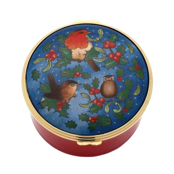 Halcyon Days Christmas Robin Musical Enamel Box-Musical Enamel Box-Sterling-and-Burke