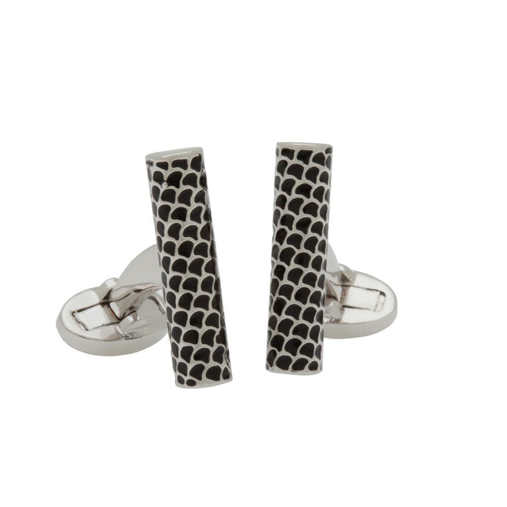 Halcyon Days Salamander Single Tube Cufflinks in Black and Palladium-Enamel Cufflinks-Sterling-and-Burke
