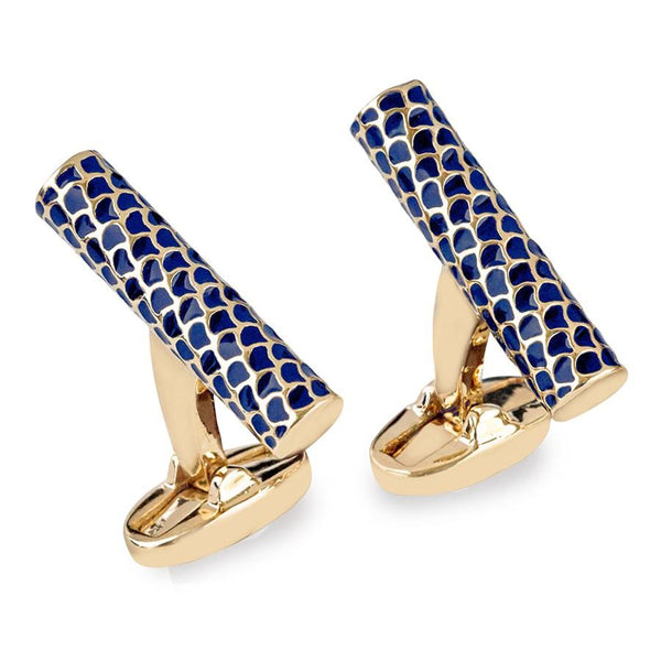 Halcyon Days Salamander Single Tube Cufflinks in Deep Cobalt and Gold-Enamel Cufflinks-Sterling-and-Burke
