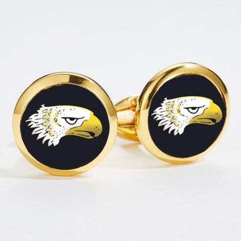 Halcyon Days Eagle Head Cufflinks in Black and Gold-Enamel Cufflinks-Sterling-and-Burke