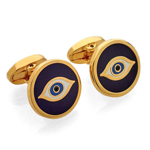 Halcyon Days Evil Eye Cufflinks in Navy and Gold-Enamel Cufflinks-Sterling-and-Burke