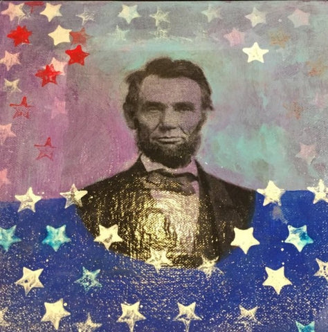 "Art | A. Lincoln 2 | Mixed Media Acrylic on Gallery Canvas | 10"" x 10"""