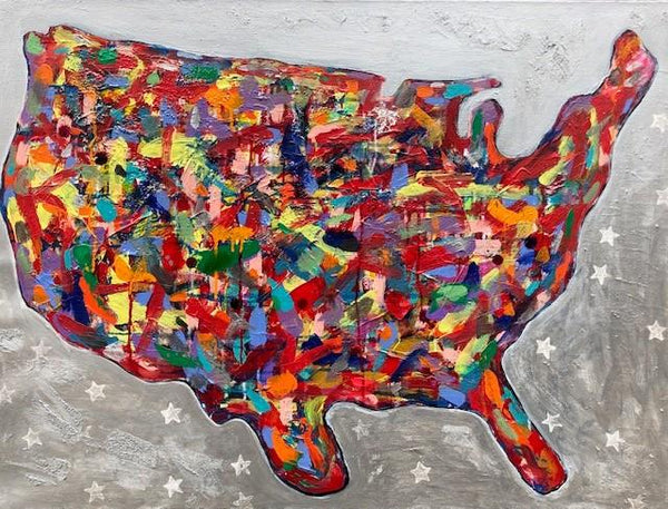 "Art | America Dream | Acrylic Mixed on Canvas by Fabiano Amin | 30"" x 40""-Acrylic Painting-Sterling-and-Burke"