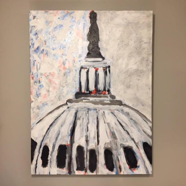 "Art | Capitol Dome | Acrylic on Canvas by Fabiano Amin | 40"" x 30""-Acrylic Painting-Sterling-and-Burke"