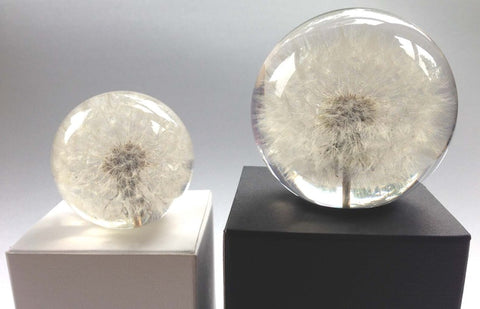 Paperweight Sphere with Dandelion | Round Glass Paperweight | Engraved | Handmade in USA