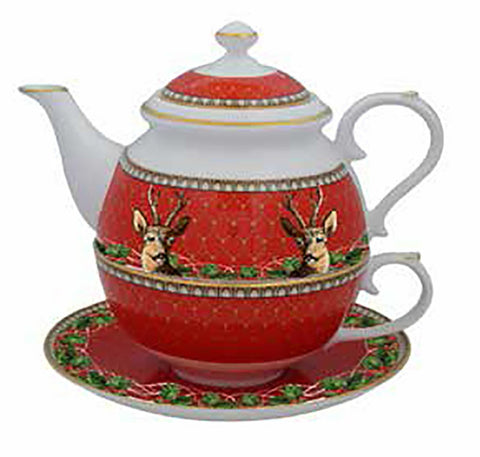 Halcyon Days Antler Trellis & Stag Tea for One in Red