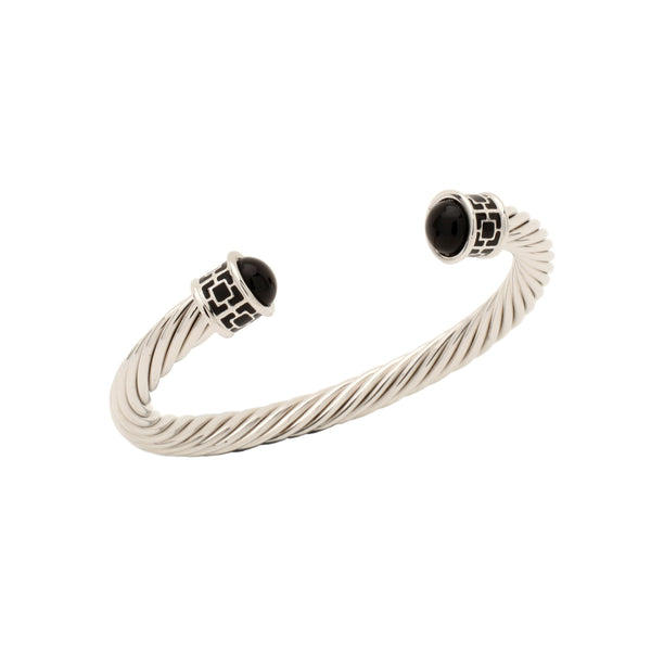 Halcyon Days Maya Open Twist Wire Bracelet in Black and Palladium-Jewelry-Sterling-and-Burke