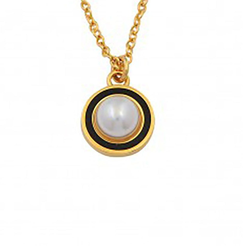 Halcyon Days Cabochon Pearl Charm Pendant Necklace in Black and Gold-Jewelry-Sterling-and-Burke