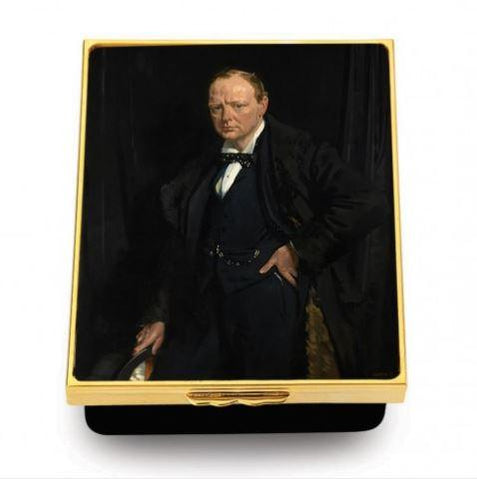 Halcyon Days Winston Churchill by Sir William Newenham Montague Orpen Enamel Box-Prestige Box-Sterling-and-Burke