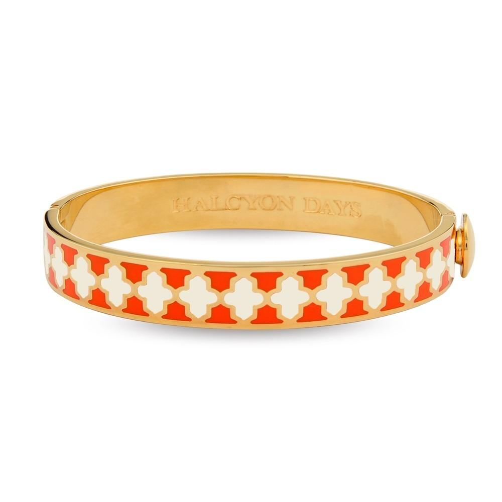 Halcyon Days 1cm Agama Hinged Enamel Bangle in Orange, Cream, and Gold-Jewelry-Sterling-and-Burke