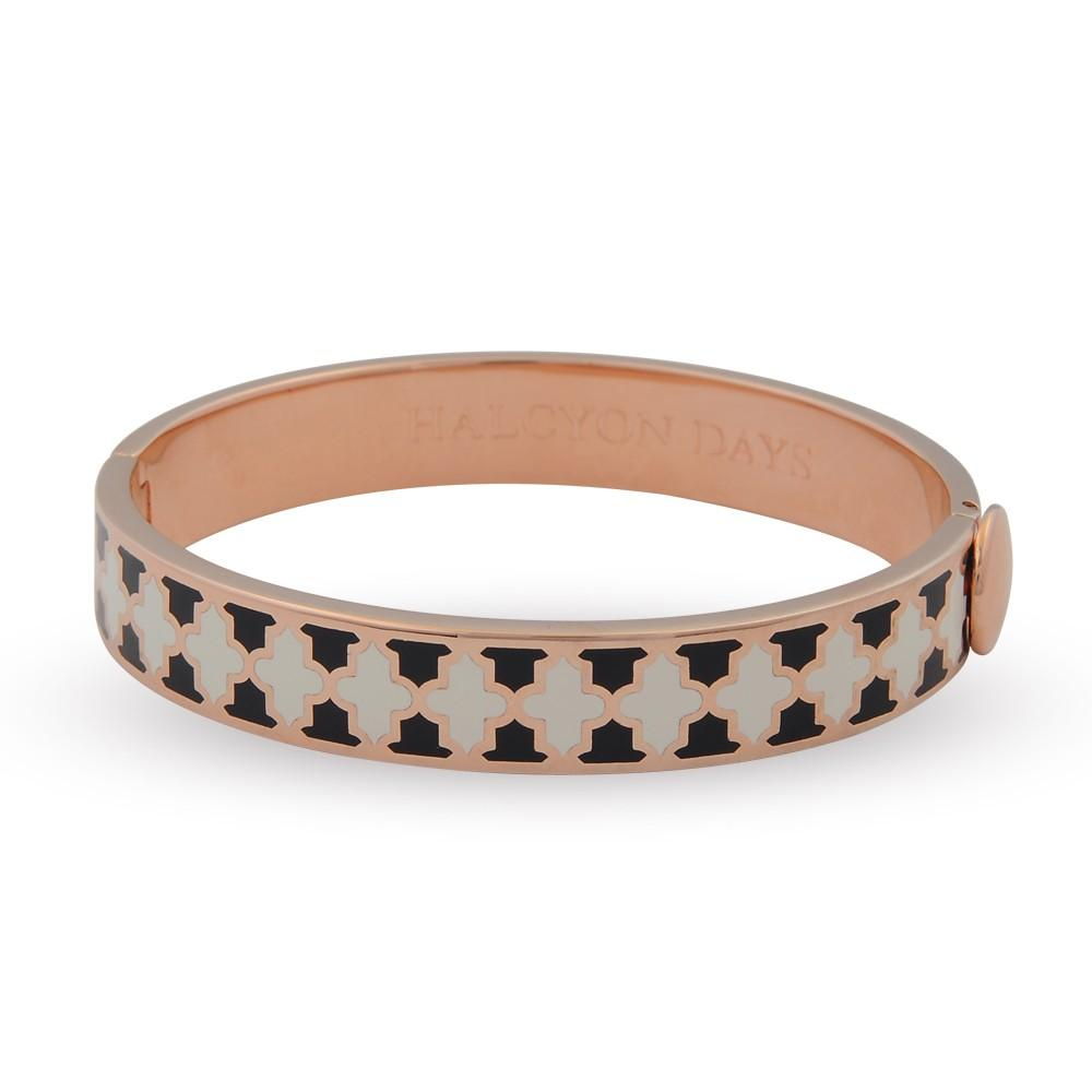 Halcyon Days 1cm Agama Hinged Enamel Bangle in Navy, Cream, and Rose Gold-Jewelry-Sterling-and-Burke