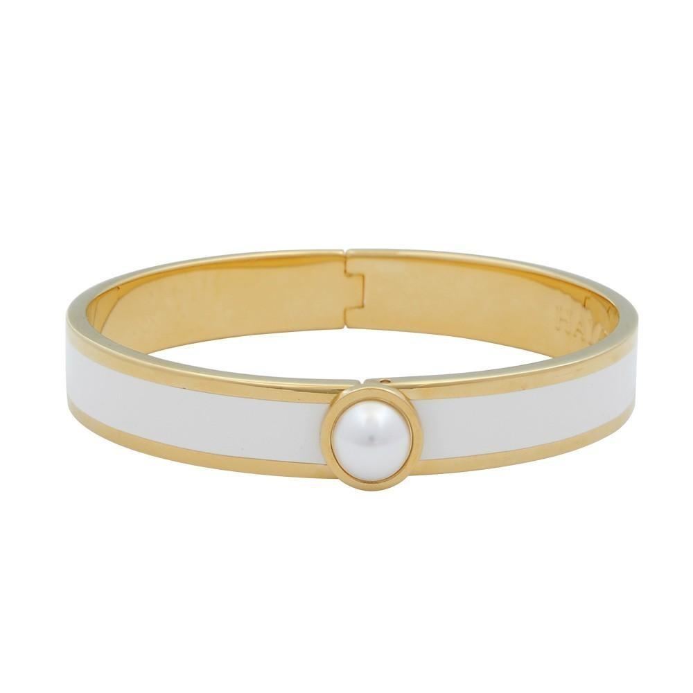 Halcyon Days 1cm Cabochon Pearl Hinged Enamel Bangle in Cream and Gold-Jewelry-Sterling-and-Burke