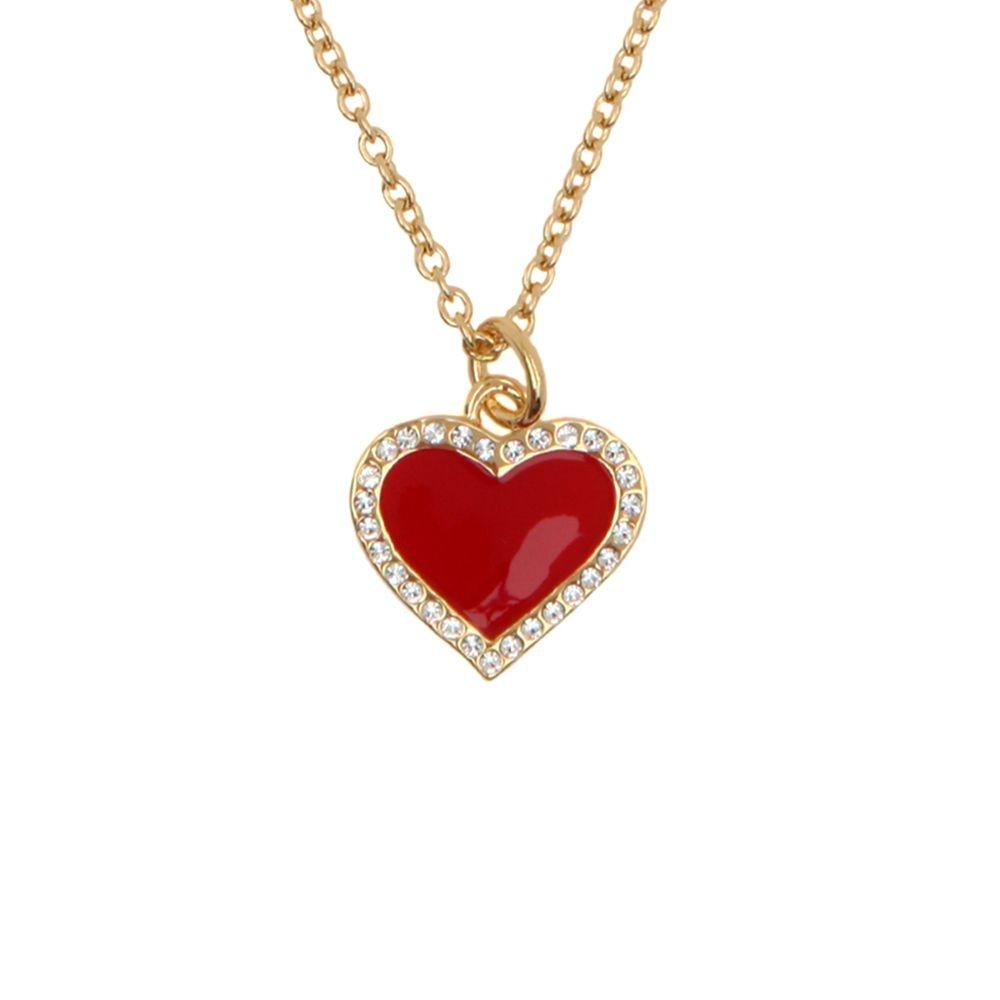 Halcyon Days Heart Sparkle Pendant Necklace in Red and Gold-Jewelry-Sterling-and-Burke