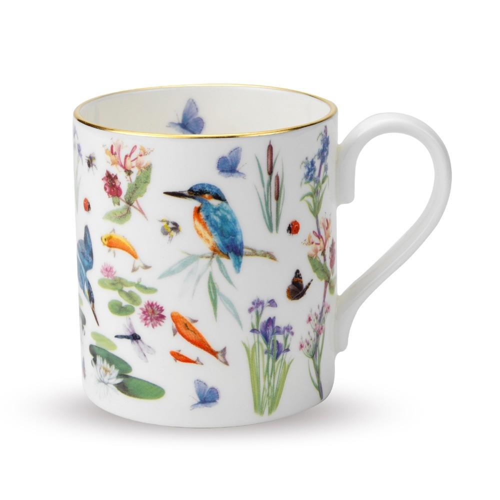 Halcyon Days Kingfisher Scatter Mug in White-Mug-Sterling-and-Burke