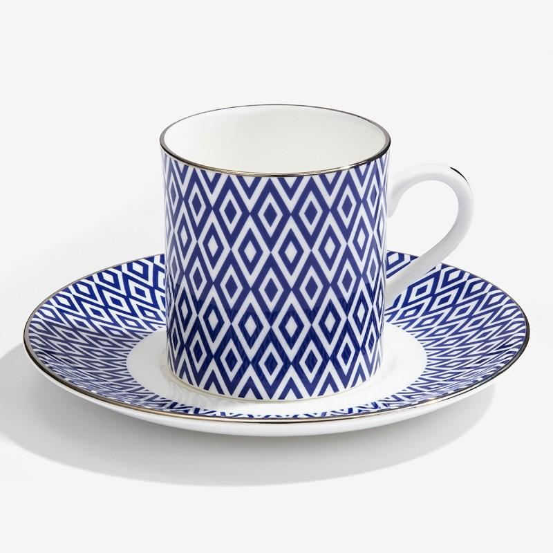 Halcyon Days Aragon Midnight Coffee Cups and Saucers, Set of 6-Bone China-Sterling-and-Burke