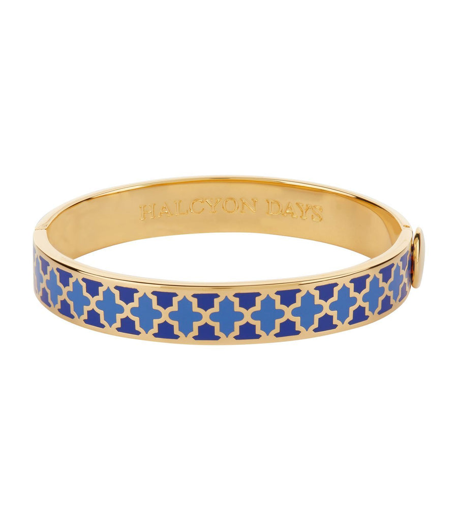 Halcyon Days 1cm Agama Hinged Enamel Bangle in Cobalt Blue, Royal Blue, and Gold-Jewelry-Sterling-and-Burke