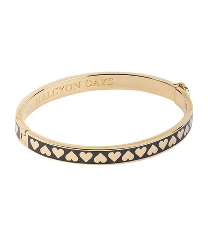 Halcyon Days 6mm Skinny Heart Hinged Enamel Bangle in Black and Gold-Jewelry-Sterling-and-Burke