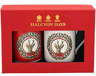 Halcyon Days Christmas | Vintage Christmas Tree Stag Mugs | Fine Bone China | Set of 2