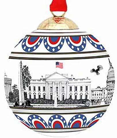 Halcyon Days Patriotic | Washington DC Skyline | Bauble Christmas Tree Ornament