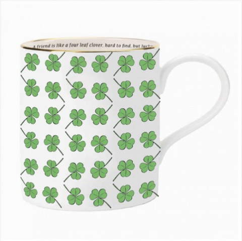 Halcyon Days A Friend Is Like A Four Leaf Clover Mug with Three Leaf Clovers in Green and White
