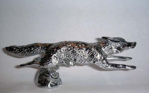 Hood Ornament | Running Fox | Small | Mascot / Hood Ornament | Chrome Plate Finish | 2 by 5 Inches | Made in England-Hood Ornament-Sterling-and-Burke