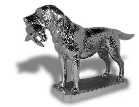 Award, Sculpture, Paperweight Hood Ornament | Queen Elizabeth's Labrador Retriever with Pheasant | Car Mascot | 4 by 6 Inches | Made in England