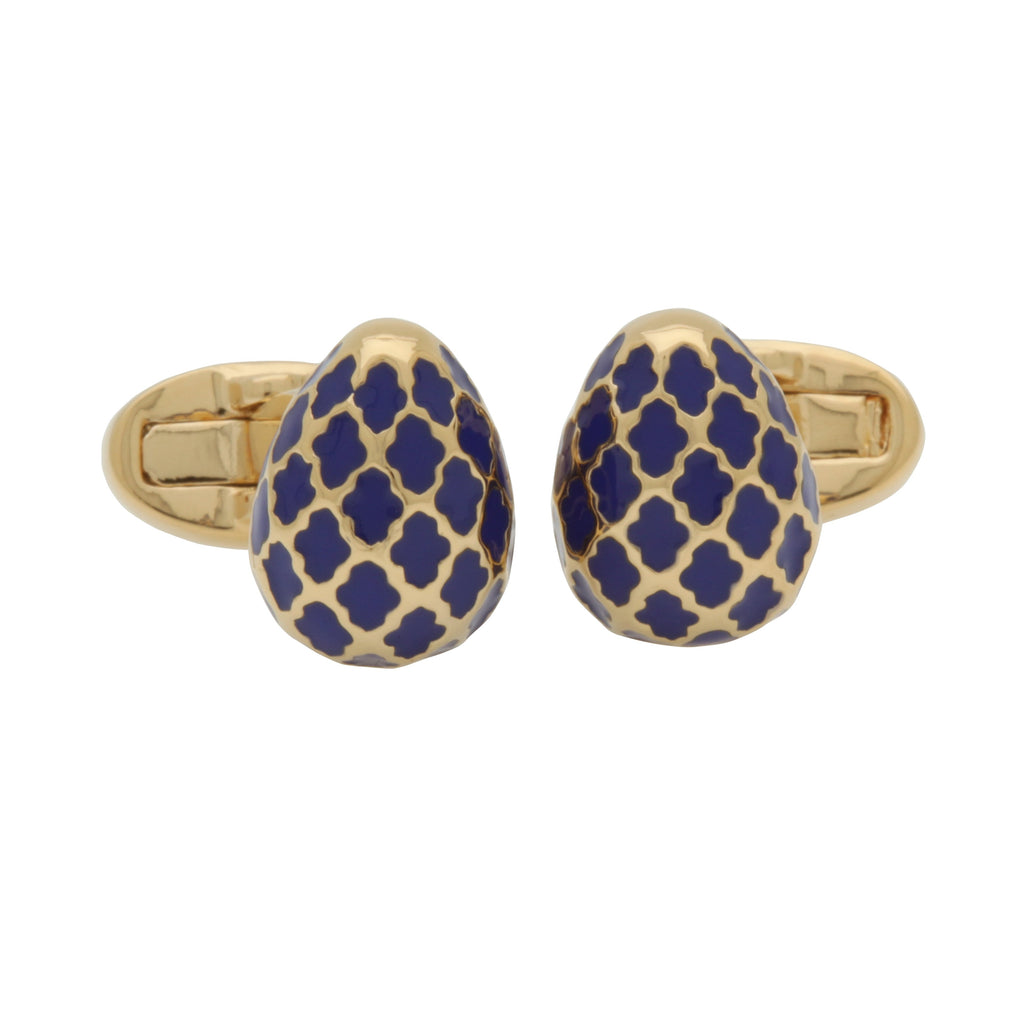 Halcyon Days Agama Egg Cufflinks in Cobalt Blue and Gold-Enamel Cufflinks-Sterling-and-Burke