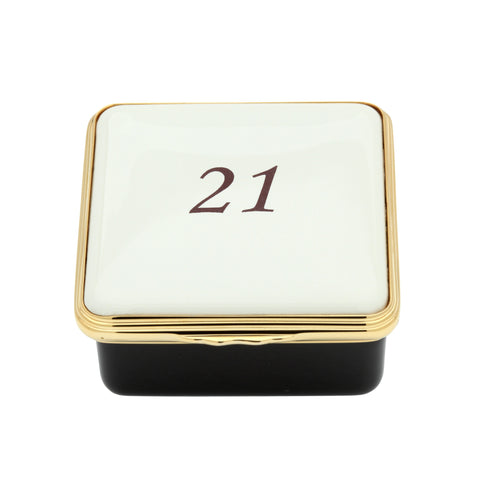 "Halcyon Days ""Number 21"" Enamel Box in Ivory-Enamel Box-Sterling-and-Burke"