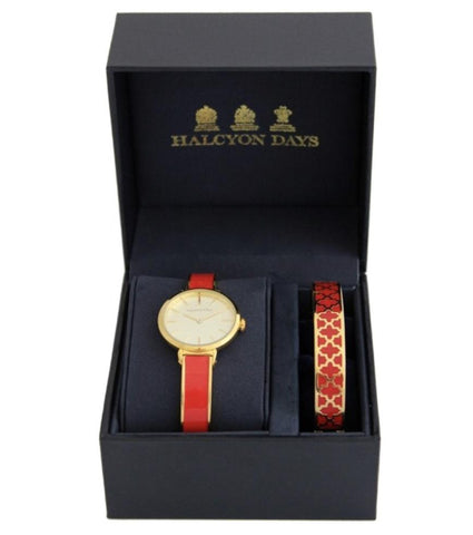 Halcyon Days Agama Plain Enamel Bangle Strap Ladies Watch and Agama Enamel Bangle Set in Red and Gold-Watch / Bangle Set-Sterling-and-Burke