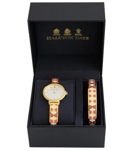 Halcyon Days Agama Enamel Bangle Strap Ladies Watch and Agama Bangle Set in Orange and Gold-Watch / Bangle Set-Sterling-and-Burke