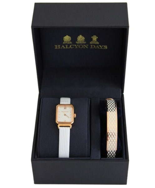 Halcyon Days Salamander Sport Leather Strap Watch and Salamander Enamel Bangle Set in Cream and Rose Gold-Watch / Bangle Set-Sterling-and-Burke