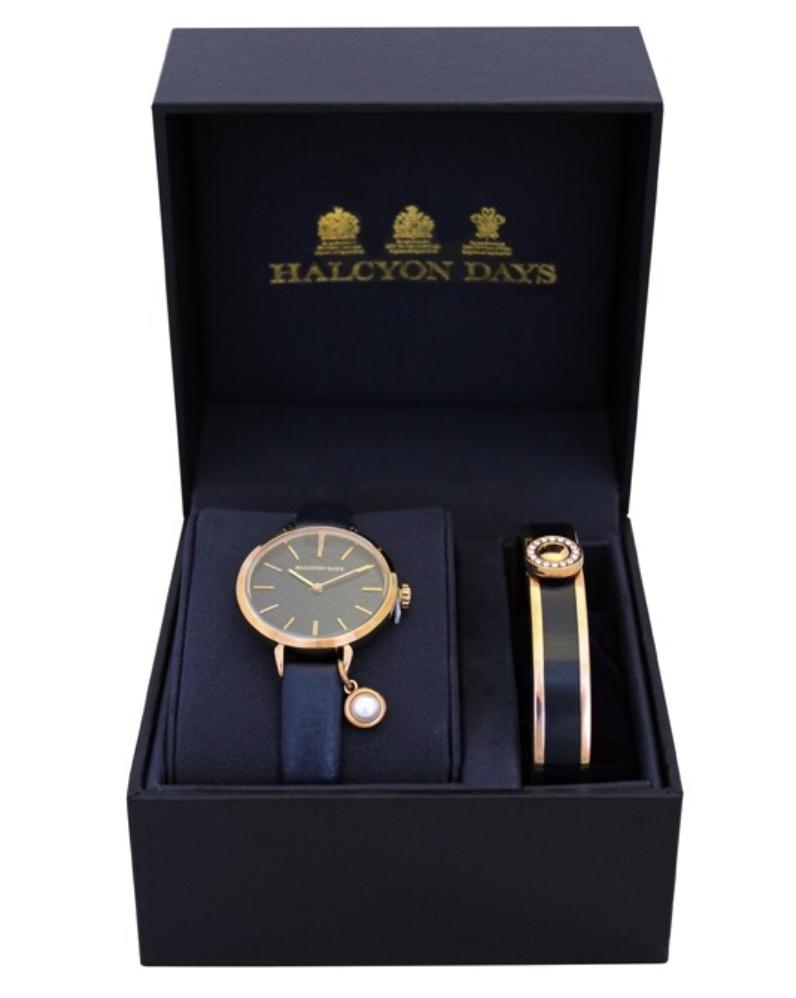 Halcyon Days Agama Pearl Charm Leather Strap Watch and Sparkle Button Enamel Bangle Set in Navy and Rose Gold-Watch / Bangle Set-Sterling-and-Burke