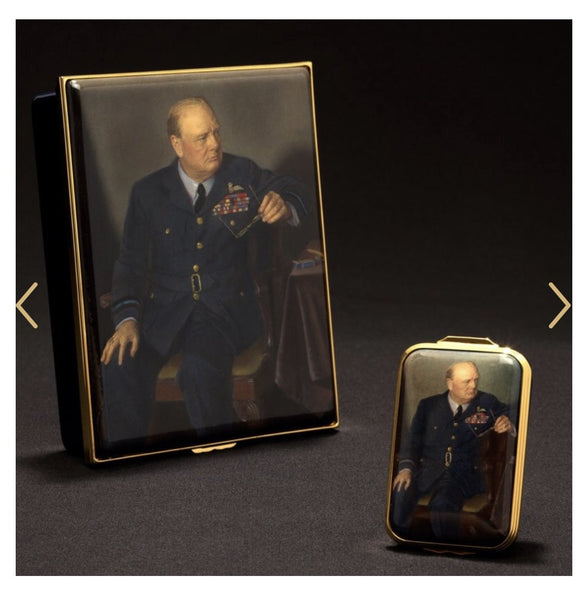 Halcyon Days Churchill Portrait by Chandor Enamel Box, Small-Enamel Box-Sterling-and-Burke
