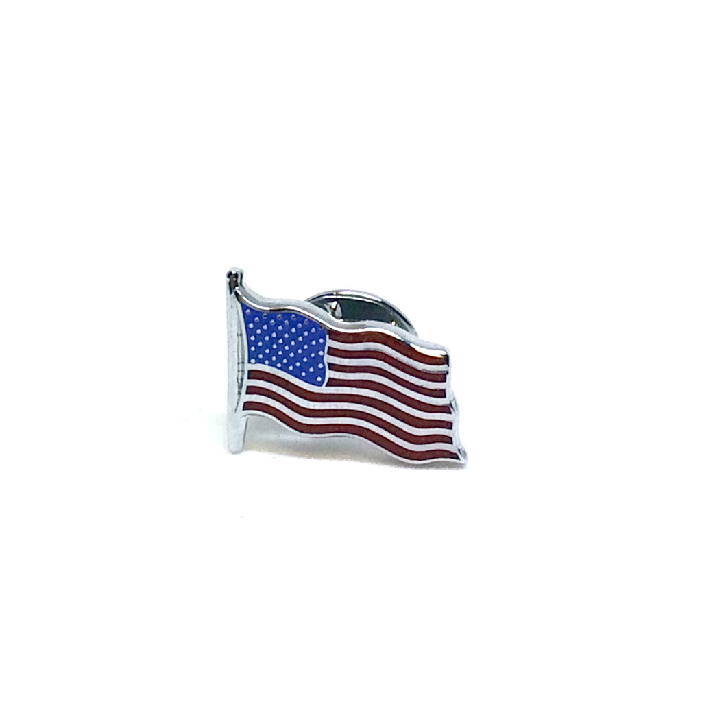 American Flag Lapel Pin | Waving US Flag Pin | Palladium Silver | Made in England-Lapel Pin-Sterling-and-Burke