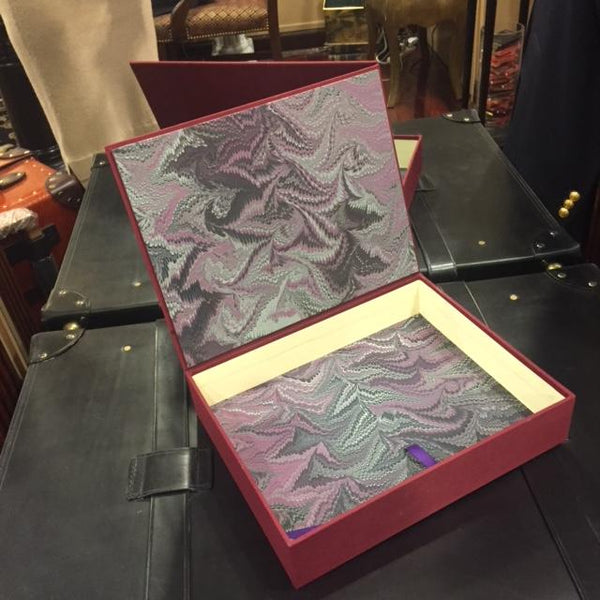 Bespoke Archival Box | Hand Marbleized Paper and Linen | Finest Quality | Custom Size | Made in USA | Charing Cross-Photo Album-Sterling-and-Burke