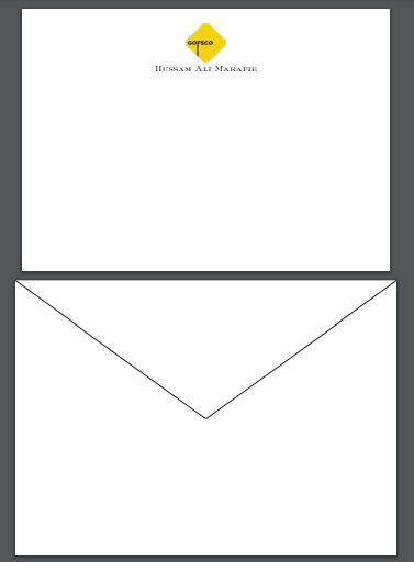 Marafie Proof | Bespoke Stationery | Large / Executive Correspondence Card and Envelope Set | Correspondence Card with Two Colour Logo and Text and Blank Envelope | Hand Engraved | Sterling and Burke Ltd-Custom Stationery-Sterling-and-Burke