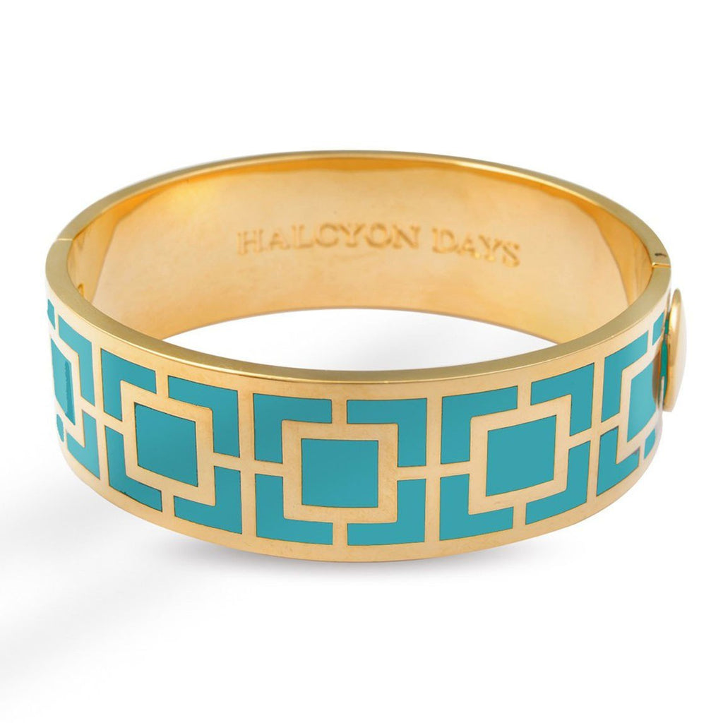 Halcyon Days 19mm Maya Hinged Enamel Bangle in Turquoise and Gold-Jewelry-Sterling-and-Burke