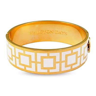 Halcyon Days 19mm Maya Hinged Enamel Bangle in Cream and Gold-Jewelry-Sterling-and-Burke