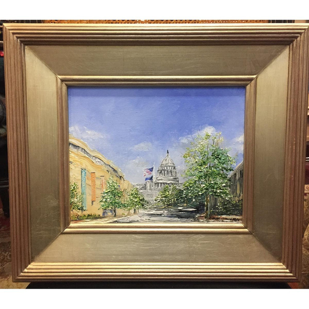 "Art | Capitol | Original Oil Painting by Claire Howard | 15.5"" x 13.5""-Oil Painting-Sterling-and-Burke"
