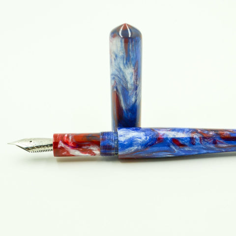 Bespoke Luxury Pens ~ RED, WHITE, and BLUE ELEMENTAR Fountain Pen ~ Custom Writing Instruments ~ Hand Manufactured