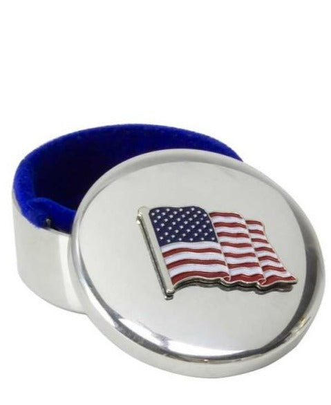 Pewter Box with Waving American Flag | Classic American | Small Box 1.75 inches | Washington, DC